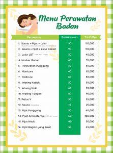 Salon Muslimah Yasna Menu Perawatan Badan
